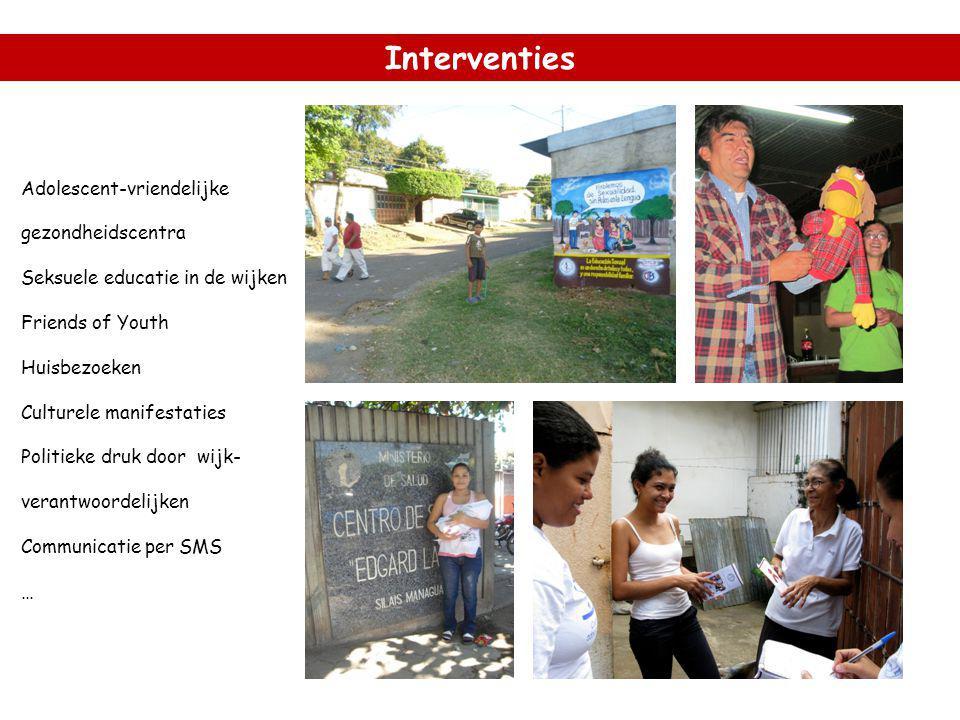 Interventies Adolescent-vriendelijke gezondheidscentra Seksuele educatie in de wijken Friends of Youth Huisbezoeken Culturele manifestaties Politieke druk door wijk- verantwoordelijken Communicatie per SMS …