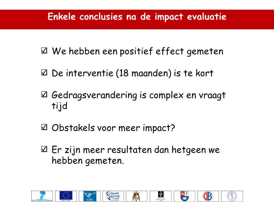 Enkele conclusies na de impact evaluatie We hebben een positief effect gemeten De interventie (18 maanden) is te kort Gedragsverandering is complex en vraagt tijd Obstakels voor meer impact.