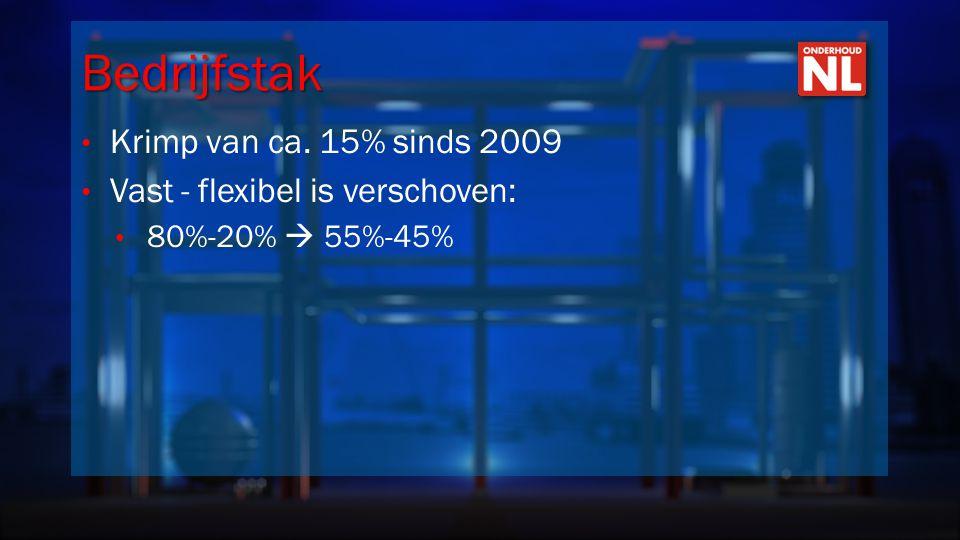 Bedrijfstak • Krimp van ca. 15% sinds 2009 • Vast - flexibel is verschoven: • 80%-20%  55%-45%