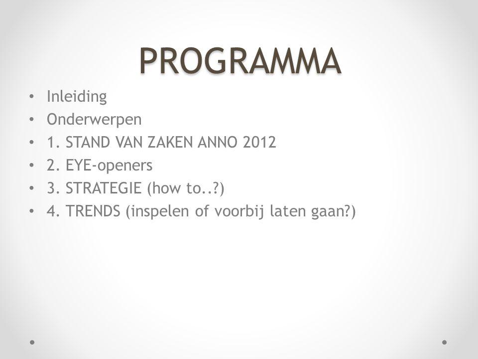 PROGRAMMA • Inleiding • Onderwerpen • 1. STAND VAN ZAKEN ANNO 2012 • 2. EYE-openers • 3. STRATEGIE (how to..?) • 4. TRENDS (inspelen of voorbij laten