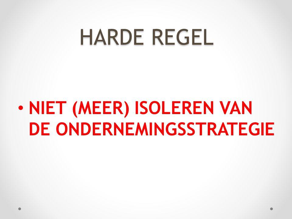 HARDE REGEL • NIET (MEER) ISOLEREN VAN DE ONDERNEMINGSSTRATEGIE