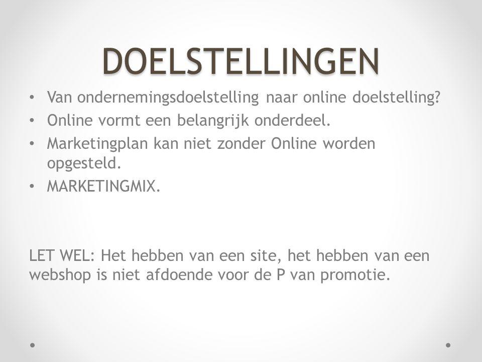 • Van ondernemingsdoelstelling naar online doelstelling.
