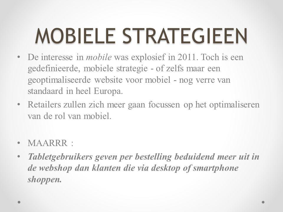 MOBIELE STRATEGIEEN • De interesse in mobile was explosief in 2011. Toch is een gedefinieerde, mobiele strategie - of zelfs maar een geoptimaliseerde