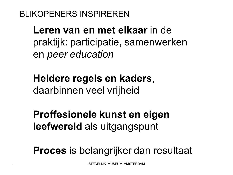 BLIKOPENERS INSPIREREN Leren van en met elkaar in de praktijk: participatie, samenwerken en peer education Heldere regels en kaders, daarbinnen veel v