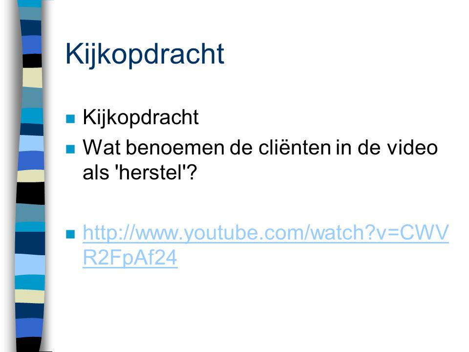 Kijkopdracht n Kijkopdracht n Wat benoemen de cliënten in de video als 'herstel'? n http://www.youtube.com/watch?v=CWV R2FpAf24 http://www.youtube.com