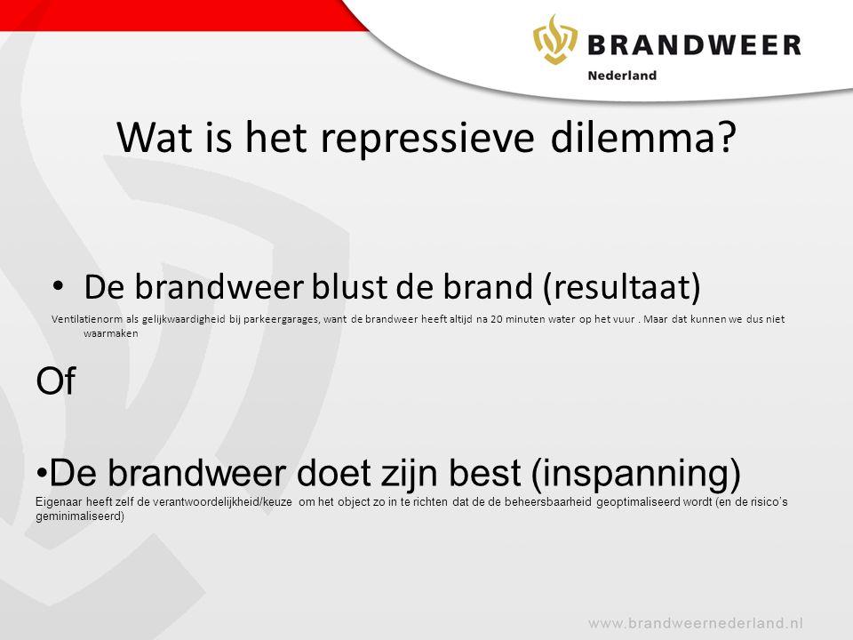 Wat is het repressieve dilemma? • De brandweer blust de brand (resultaat) Ventilatienorm als gelijkwaardigheid bij parkeergarages, want de brandweer h