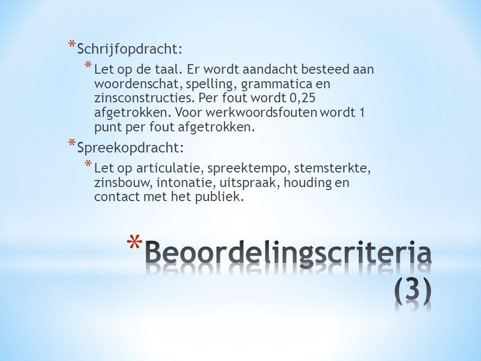 * Schrijfopdracht: * Let op de taal.