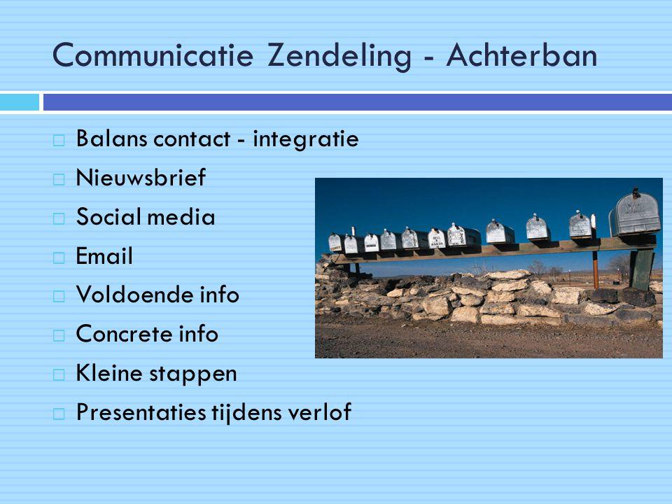 Communicatie Zendeling - Achterban  Balans contact - integratie  Nieuwsbrief  Social media  Email  Voldoende info  Concrete info  Kleine stappen  Presentaties tijdens verlof