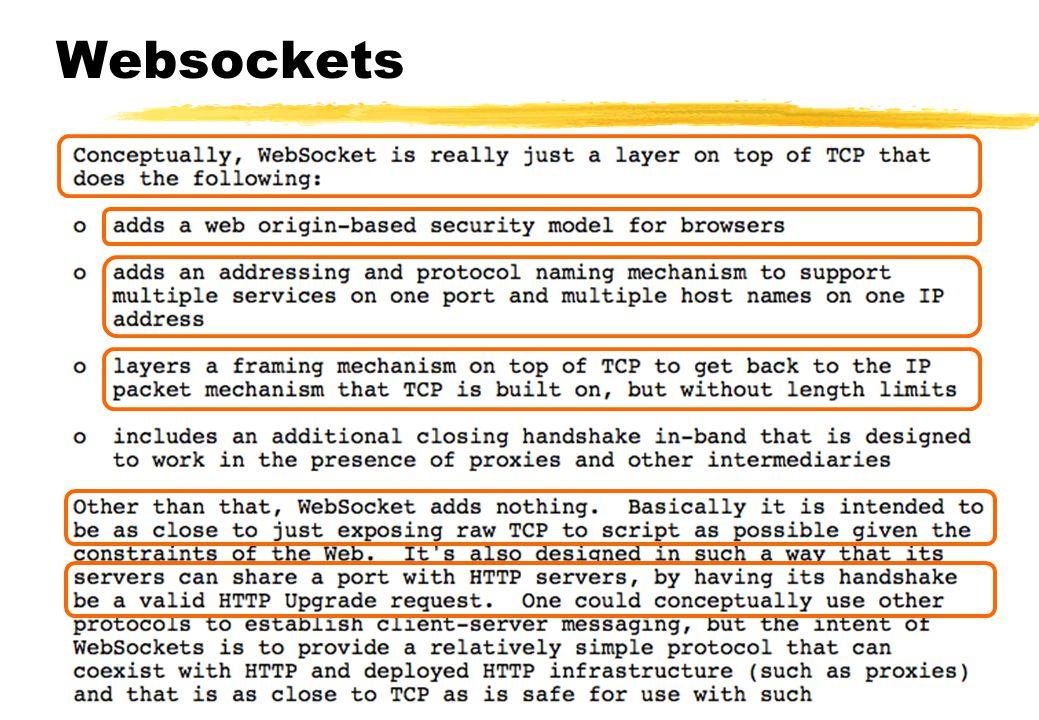Websockets •(HTML5) Standaard voor meerdere full-duplex communicatiekanalen via één TCP poort (80) •Omzeilen van blokkades van andere poorten •En voor webapps met persistent tweeweg behoefte.