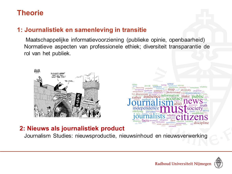 Theorie 1: Journalistiek en samenleving in transitie Maatschappelijke informatievoorziening (publieke opinie, openbaarheid) Normatieve aspecten van pr