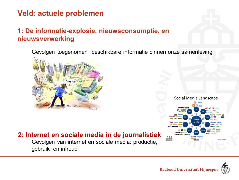 Veld: actuele problemen 1: De informatie-explosie, nieuwsconsumptie, en nieuwsverwerking Gevolgen toegenomen beschikbare informatie binnen onze samenl