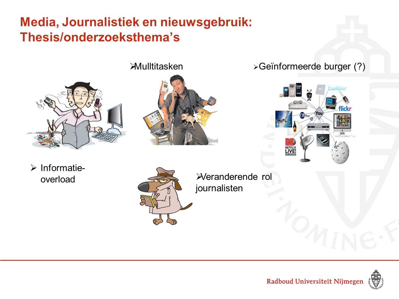 Media, Journalistiek en nieuwsgebruik: Thesis/onderzoeksthema's  Mulltitasken  Geïnformeerde burger (?)  Veranderende rol journalisten  Informatie