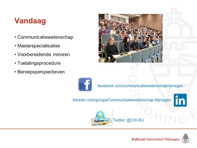 Vandaag • Communicatiewetenschap • Masterspecialisaties • Voorbereidende minoren • Toelatingsprocedure • Beroepsperspectieven facebook.com/communicati