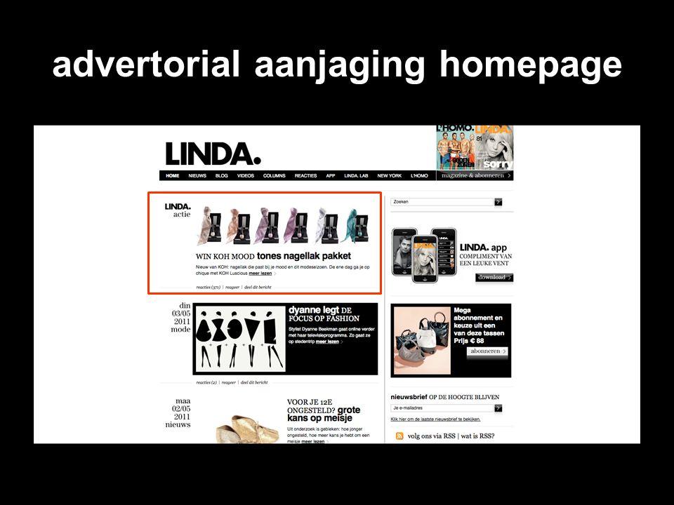 advertorial aanjaging homepage