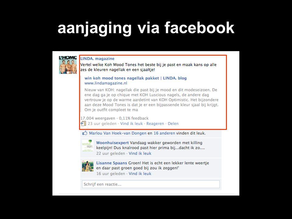 aanjaging via facebook