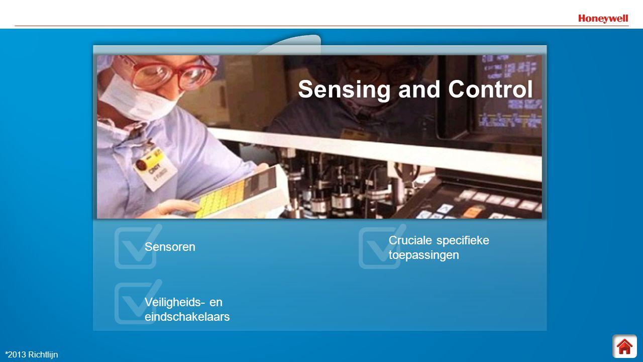 16 Sensing and Control Sensing and ControlSensing and Control Sensoren Veiligheids- en eindschakelaars Cruciale specifieke toepassingen *2013 Richtlij