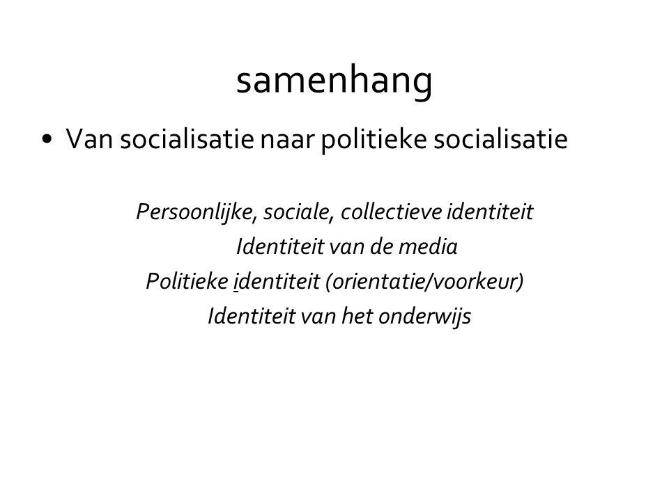 samenhang •Van socialisatie naar politieke socialisatie Persoonlijke, sociale, collectieve identiteit Identiteit van de media Politieke identiteit (orientatie/voorkeur) Identiteit van het onderwijs