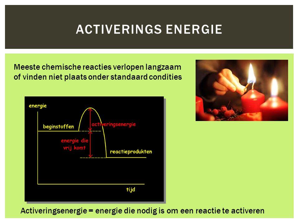 ACTIVERINGS ENERGIE Activeringsenergie = energie die nodig is om een reactie te activeren Meeste chemische reacties verlopen langzaam of vinden niet p