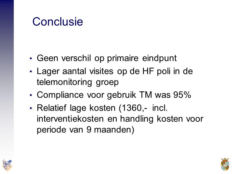 Conclusie • Geen verschil op primaire eindpunt • Lager aantal visites op de HF poli in de telemonitoring groep • Compliance voor gebruik TM was 95% •