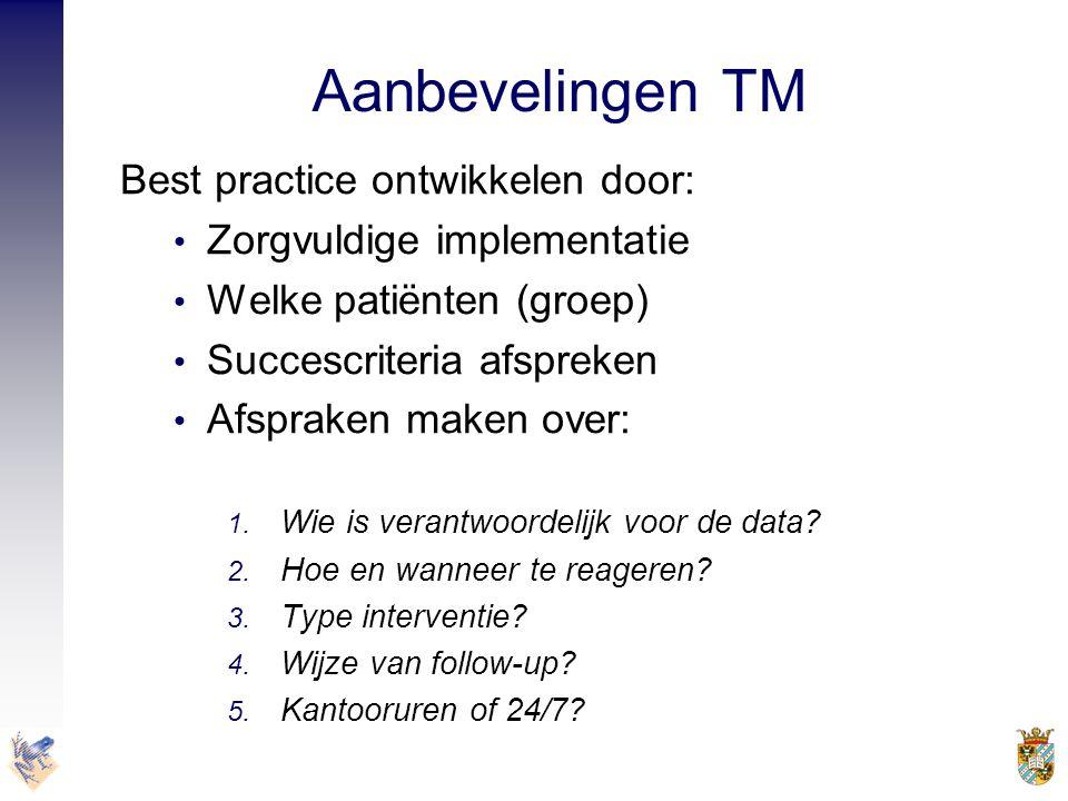 Aanbevelingen TM Best practice ontwikkelen door: • Zorgvuldige implementatie • Welke patiënten (groep) • Succescriteria afspreken • Afspraken maken ov