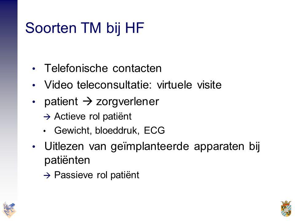 Soorten TM bij HF • Telefonische contacten • Video teleconsultatie: virtuele visite • patient  zorgverlener  Actieve rol patiënt • Gewicht, bloeddru