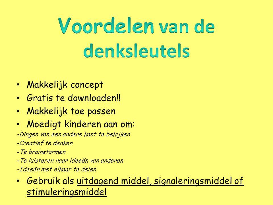 • http://www.lesmateriaalvoorhoogbegaafden.com/uploads/8/5/8/1/8581288/denksleut elscreatiefinstructiebladen1.pdf http://www.lesmateriaalvoorhoogbegaafden.com/uploads/8/5/8/1/8581288/denksleut elscreatiefinstructiebladen1.pdf • http://www.wsnsveghel.nl/mindportaal/leerkrachten/Documents/tabel%20denksleutel s.pdf http://www.wsnsveghel.nl/mindportaal/leerkrachten/Documents/tabel%20denksleutel s.pdf Filmpjes werken met sleutels: Eerste keer vraagsleutel groep 3 Tweede keer vraagsleutel groep 3 Vraagsleutel plusklas