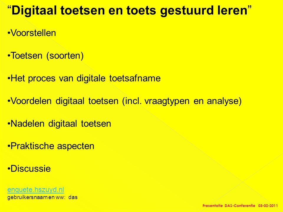 """""""Digitaal toetsen en toets gestuurd leren"""" •Voorstellen •Toetsen (soorten) •Het proces van digitale toetsafname •Voordelen digitaal toetsen (incl. vra"""