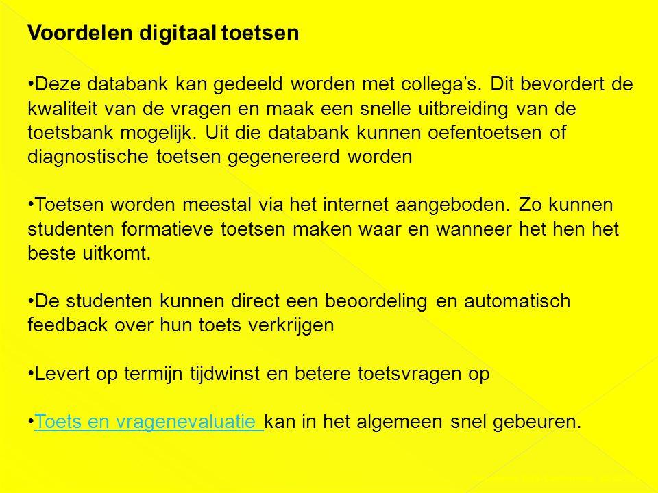 Presentatie DAS-Conferentie 03-02-2011 Voordelen digitaal toetsen •Deze databank kan gedeeld worden met collega's. Dit bevordert de kwaliteit van de v