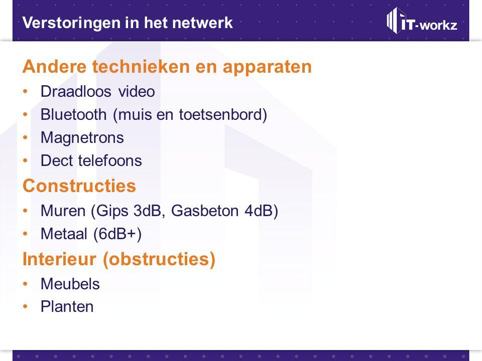 Verstoringen in het netwerk Andere technieken en apparaten •Draadloos video •Bluetooth (muis en toetsenbord) •Magnetrons •Dect telefoons Constructies