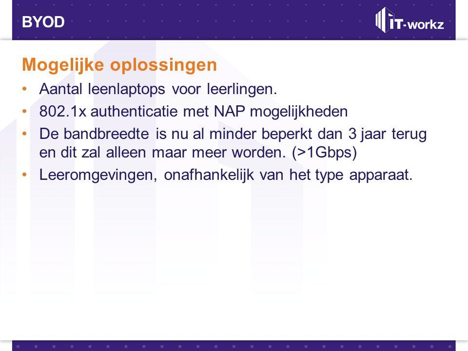 BYOD Mogelijke oplossingen •Aantal leenlaptops voor leerlingen. •802.1x authenticatie met NAP mogelijkheden •De bandbreedte is nu al minder beperkt da
