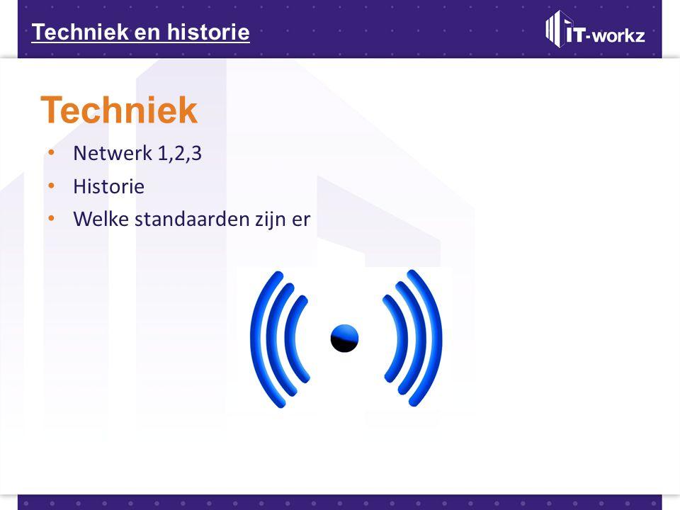 Techniek en historie Techniek • Netwerk 1,2,3 • Historie • Welke standaarden zijn er