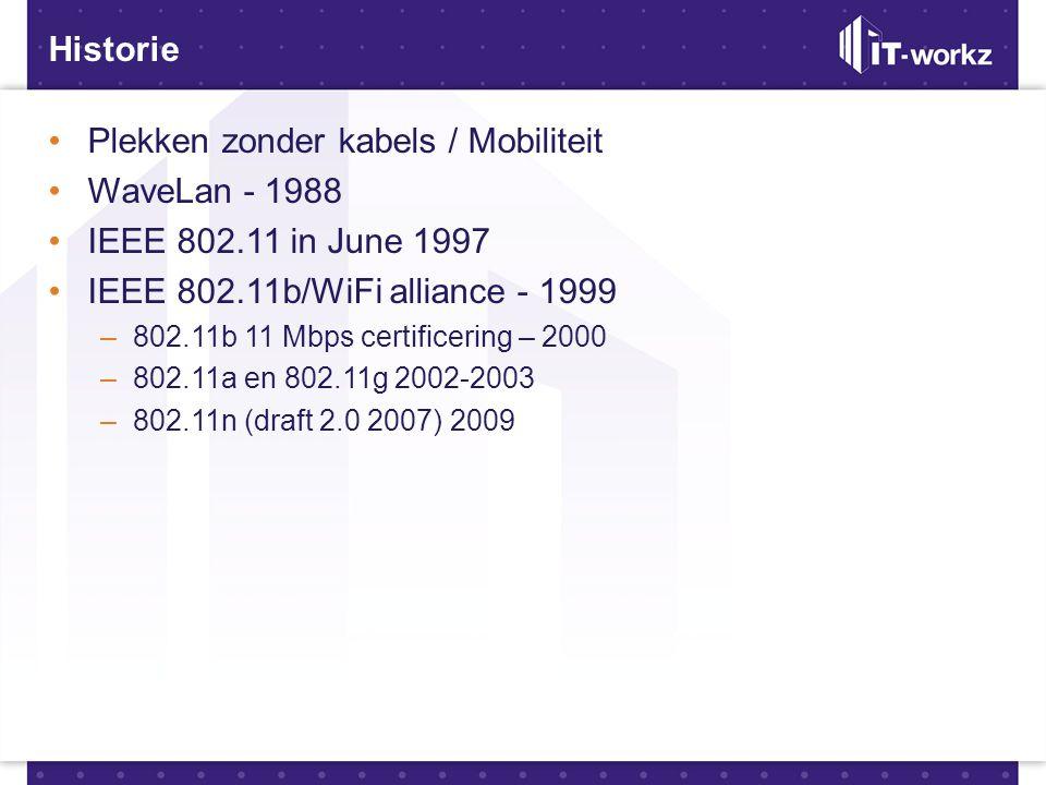 Historie •Plekken zonder kabels / Mobiliteit •WaveLan - 1988 •IEEE 802.11 in June 1997 •IEEE 802.11b/WiFi alliance - 1999 –802.11b 11 Mbps certificeri