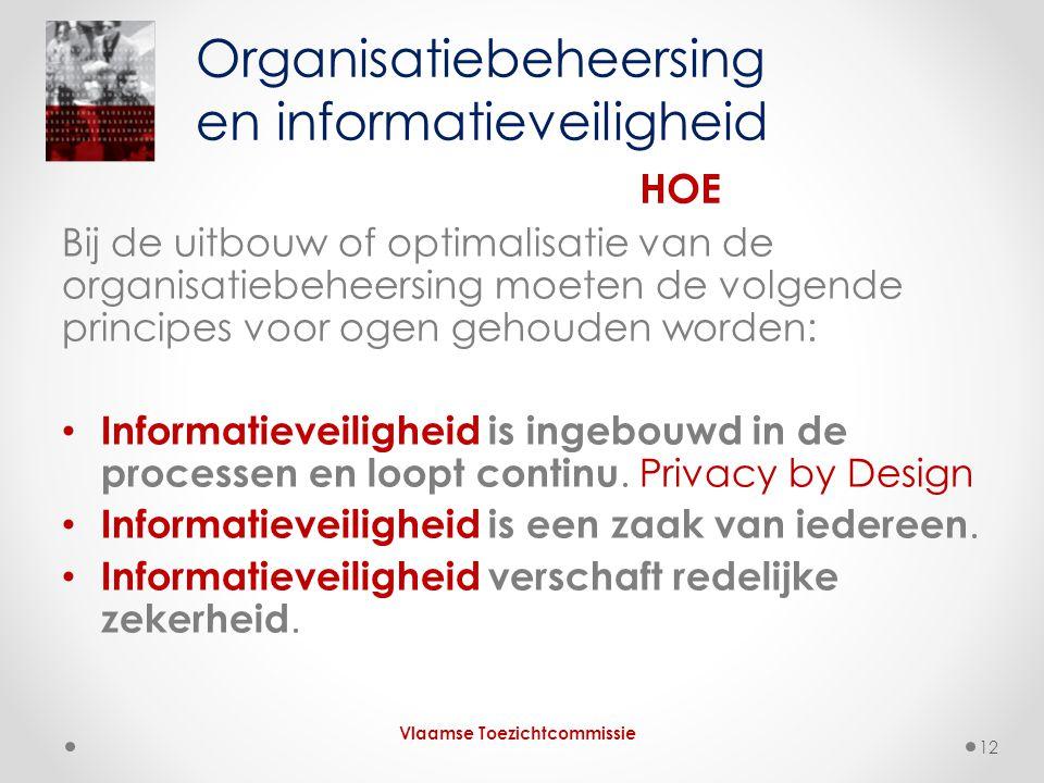Bij de uitbouw of optimalisatie van de organisatiebeheersing moeten de volgende principes voor ogen gehouden worden: • Informatieveiligheid is ingebou