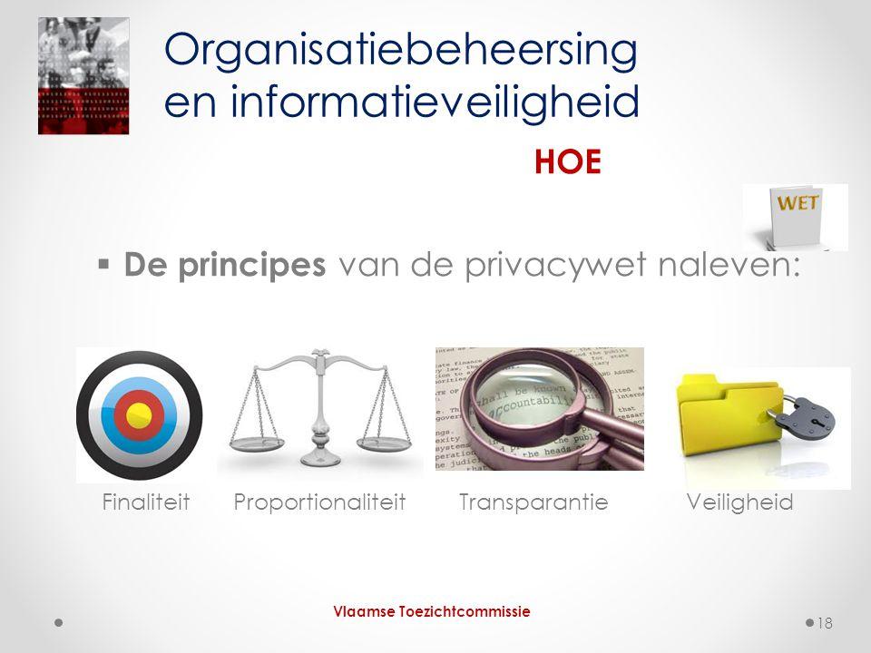  De principes van de privacywet naleven: Finaliteit Proportionaliteit Transparantie Veiligheid Organisatiebeheersing en informatieveiligheid HOE Vlaamse Toezichtcommissie 18
