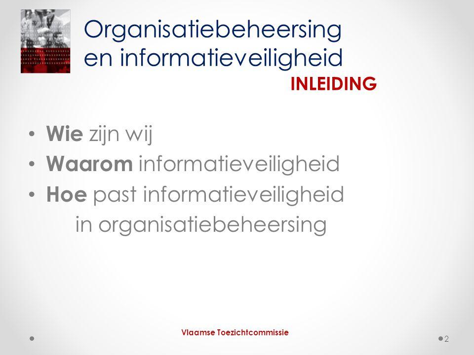 • Wie zijn wij • Waarom informatieveiligheid • Hoe past informatieveiligheid in organisatiebeheersing Organisatiebeheersing en informatieveiligheid INLEIDING Vlaamse Toezichtcommissie 2