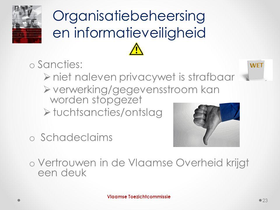 o Sancties:  niet naleven privacywet is strafbaar  verwerking/gegevensstroom kan worden stopgezet  tuchtsancties/ontslag o Schadeclaims o Vertrouwen in de Vlaamse Overheid krijgt een deuk Organisatiebeheersing en informatieveiligheid Vlaamse Toezichtcommissie 23