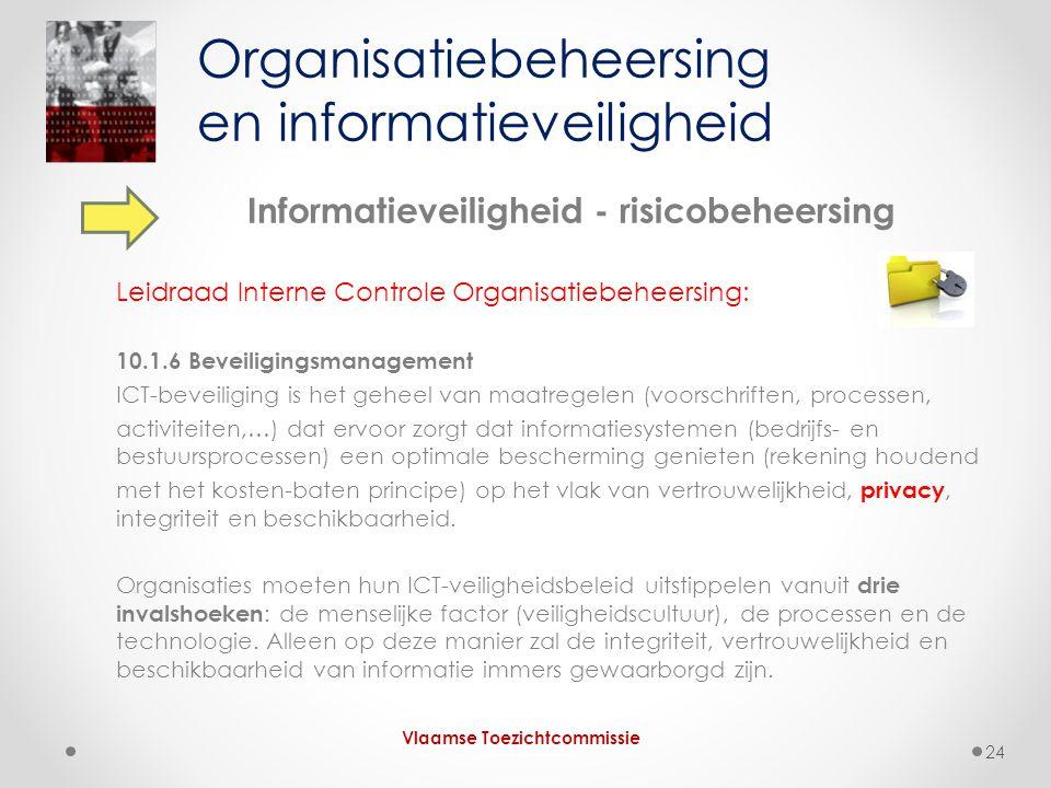 Informatieveiligheid - risicobeheersing Leidraad Interne Controle Organisatiebeheersing: 10.1.6 Beveiligingsmanagement ICT-beveiliging is het geheel v