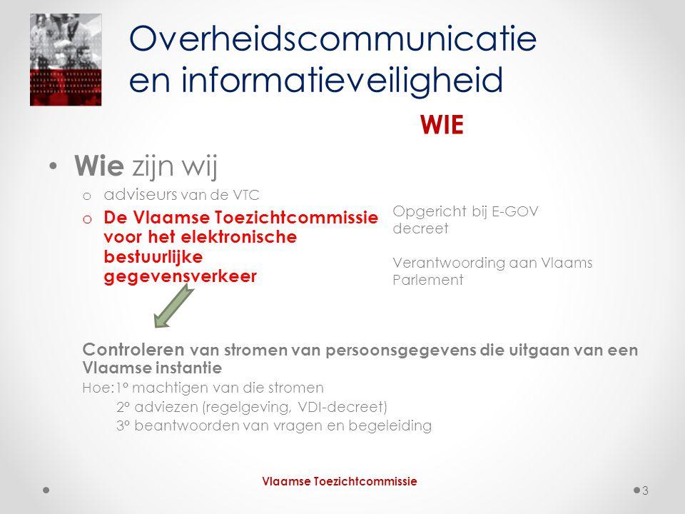 Volgen van reglementen en procedures Voor Vlaamse overheidsinstanties gelden • de privacywet • het e-govdecreet Risicobeheersing of informatieveiligheid sensu stricto Organisatiebeheersing en informatieveiligheid HOE Vlaamse Toezichtcommissie 14