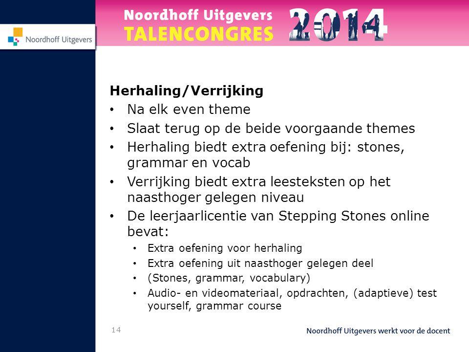 Herhaling/Verrijking • Na elk even theme • Slaat terug op de beide voorgaande themes • Herhaling biedt extra oefening bij: stones, grammar en vocab •