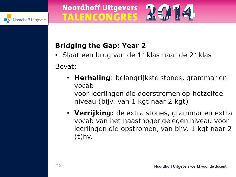 Bridging the Gap: Year 2 • Slaat een brug van de 1 e klas naar de 2 e klas Bevat: • Herhaling: belangrijkste stones, grammar en vocab voor leerlingen