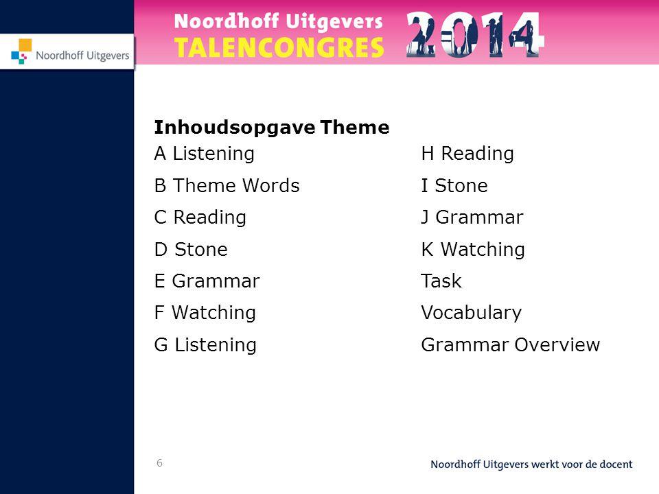 Inhoudsopgave Theme A Listening B Theme Words C Reading D Stone E Grammar F Watching G Listening 6 H Reading I Stone J Grammar K Watching Task Vocabul