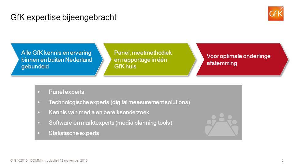 2 GfK expertise bijeengebracht •Panel experts •Technologische experts (digital measurement solutions) •Kennis van media en bereiksonderzoek •Software