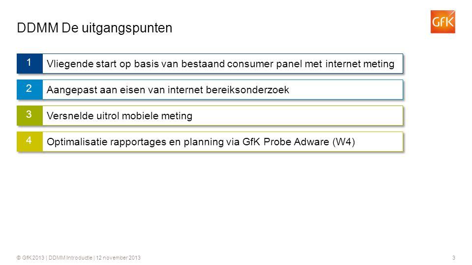 © GfK 2013 | DDMM Introductie | 12 november 20133 DDMM De uitgangspunten 3 1 1 Vliegende start op basis van bestaand consumer panel met internet metin