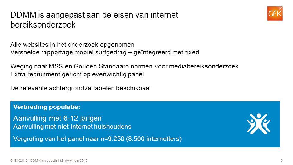 © GfK 2013 | DDMM Introductie | 12 november 20138 Alle websites in het onderzoek opgenomen Versnelde rapportage mobiel surfgedrag – geïntegreerd met f
