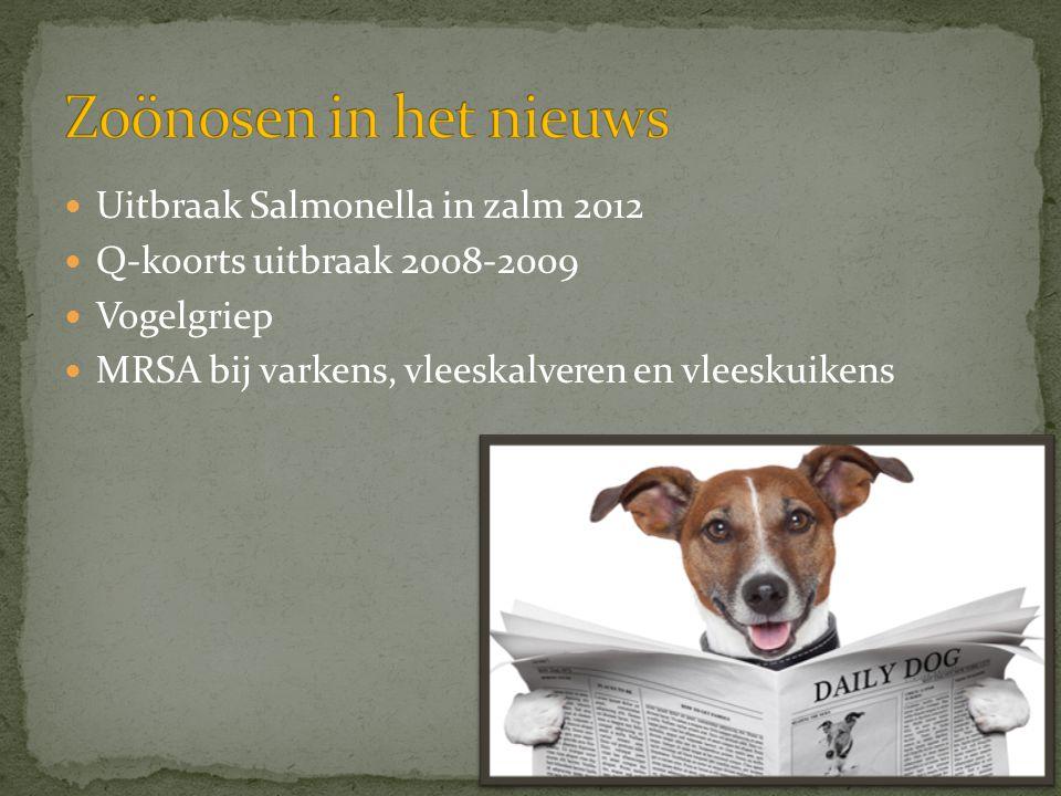  Uitbraak Salmonella in zalm 2012  Q-koorts uitbraak 2008-2009  Vogelgriep  MRSA bij varkens, vleeskalveren en vleeskuikens