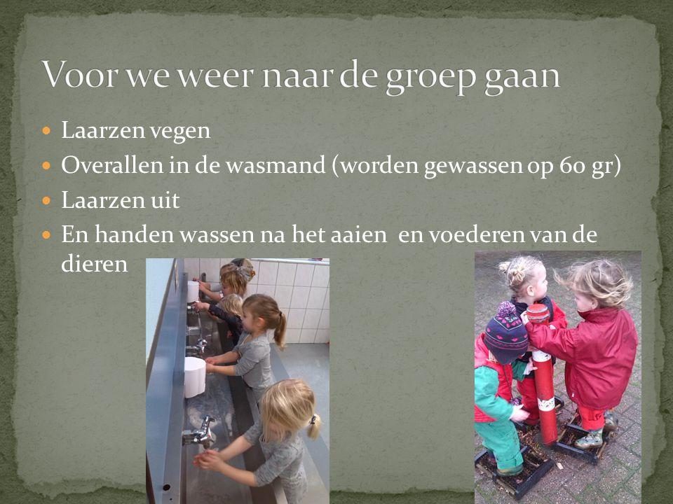  Laarzen vegen  Overallen in de wasmand (worden gewassen op 60 gr)  Laarzen uit  En handen wassen na het aaien en voederen van de dieren