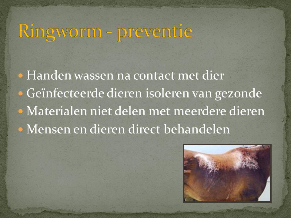  Handen wassen na contact met dier  Geïnfecteerde dieren isoleren van gezonde  Materialen niet delen met meerdere dieren  Mensen en dieren direct