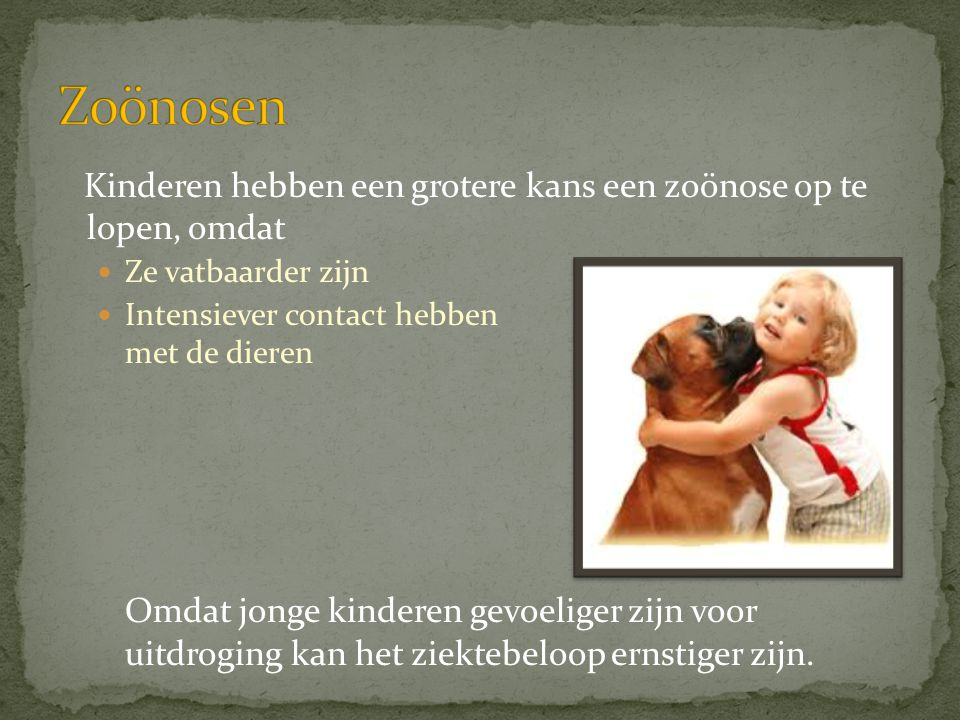 Kinderen hebben een grotere kans een zoönose op te lopen, omdat  Ze vatbaarder zijn  Intensiever contact hebben met de dieren Omdat jonge kinderen g