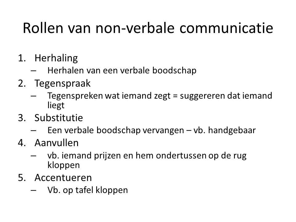 Rollen van non-verbale communicatie 1.Herhaling – Herhalen van een verbale boodschap 2.Tegenspraak – Tegenspreken wat iemand zegt = suggereren dat iem