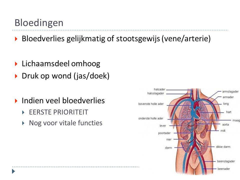 Bloedingen  Bloedverlies gelijkmatig of stootsgewijs (vene/arterie)  Lichaamsdeel omhoog  Druk op wond (jas/doek)  Indien veel bloedverlies  EERS